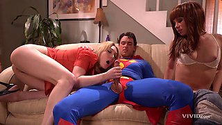 Horny superman comes to help the sexy babes with their horniness
