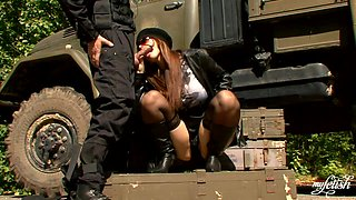 Bossy military babe demands cock
