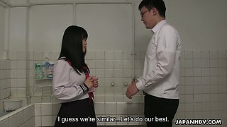 Lovely Japanese coed gal Sayaka Aishiro stands on knees to give a nice blowjob