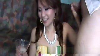 Sperm Swallowing in Glass Arisa Japanese Beauty