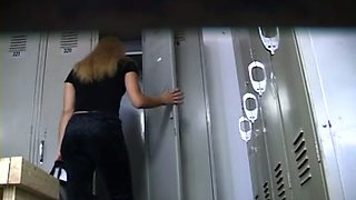 Majestic blonde milf lady in the locker room on hidden cam clip