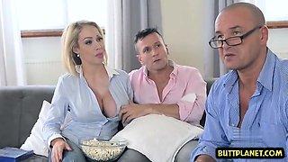 Big tits wife deepthroat and cumshot