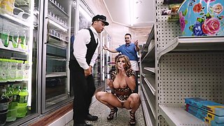 Milf fucked by her personal driver in a store