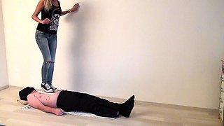 Attractive amateur blonde dominates a submissive guy