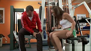 Training in the gym and relaxing on cock