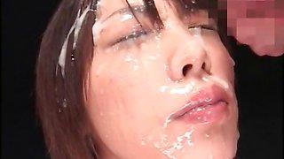 Japanese minx facially jizzed